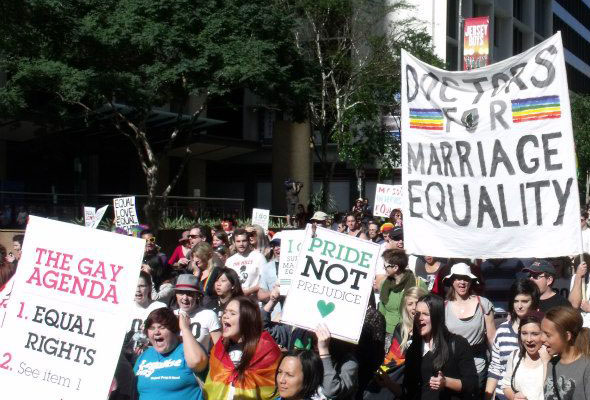 Hundreds march in Brisbane in support of gay marriage.