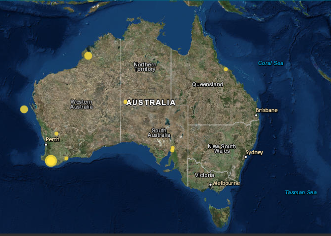 Earthquakes in the week to 13 Nov, 2018. Image: Commonwealth of Australia/Geoscience Australia, 2018.